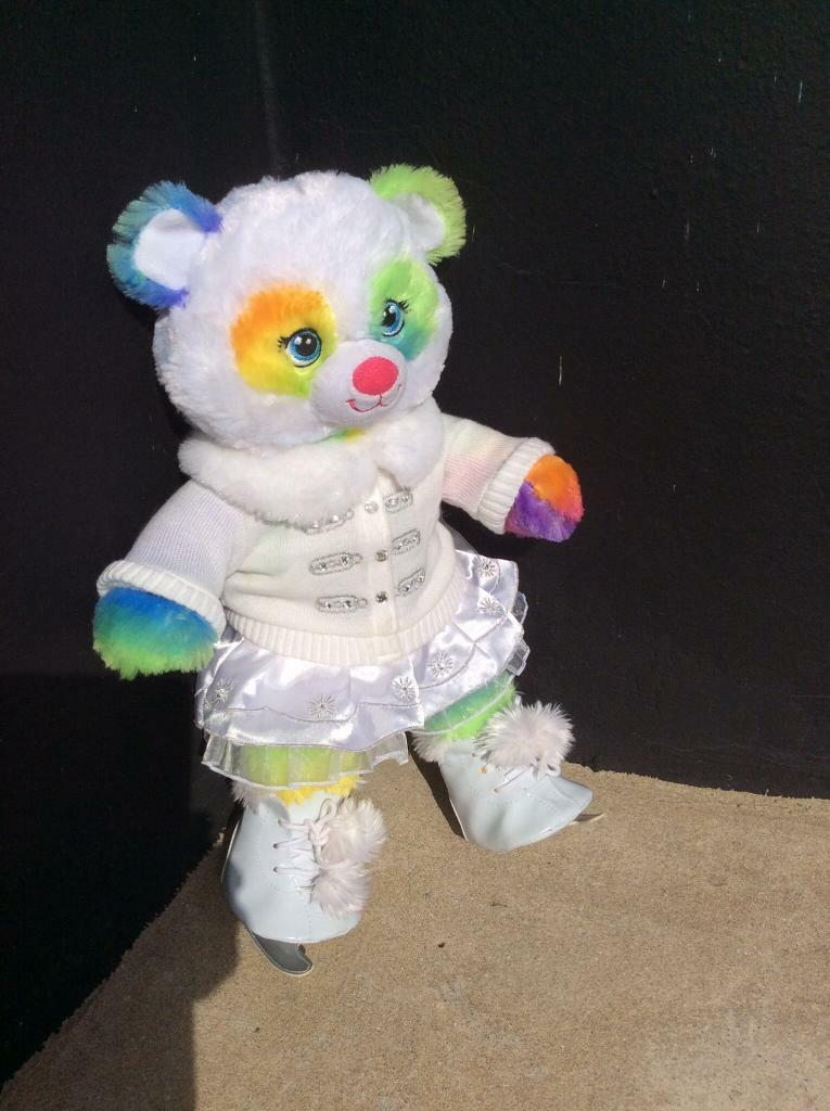 Build a bear ice skating outfit. Rainbow bear which says I love you
