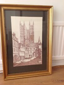Original ink sketch of Lincoln Cathedral