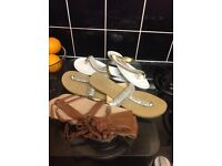 3 pairs summer sandles little wear ideal for any holiday £10 the lot, size 6