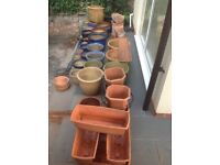 Selection of pots, Ceramic, Terracotta, Pot feet & sundries