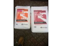 2 bags of plaster 1 hard wall and 1 multi-finish