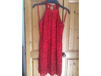 Beaded Vintage Oleg Cassini Red Dress Size S