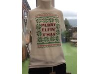 Festive Christmas T Shirts ( Merry Elfin Xmas ) size M or Large RRP £12.99