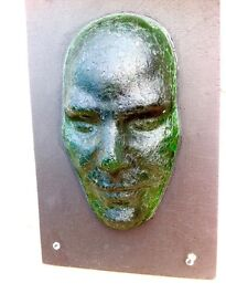 Very unusual Art piece Mounted Recycled Fused Glass Mask