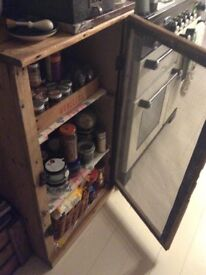 An antique pine meat safe/cupboard