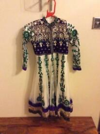 Girls white/purple anarkali dress size 30