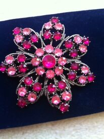 Large silver with pink diamantes flower brooch