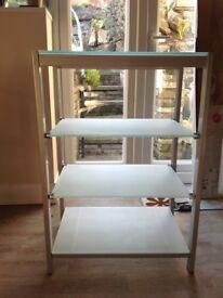 Silver & glass shelf unit
