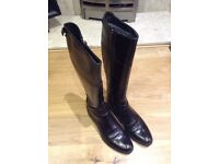 Ladies Italian black leather 'riding' boots - size 38, never worn - stunning leather, good grip
