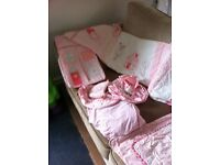 Baby girls cot bedding nursery set, Higgs and kisses