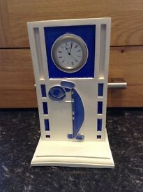 Beautiful Hand made clock, blue insets. A total one of, not to be missed.