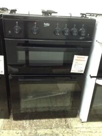 Beko 60cm black gas cooker. Double oven £320 12 month Gtee