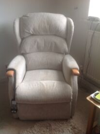 Beige 2 seater sofa with matching reclining chair