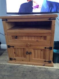 Pine tv unit with drawers & cupboard