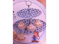 New Ceramic Cake Stand - 2 Tier - Tetley Tea Folk design