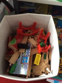 Big bundle of wooden train set