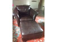 Leather armchair & matching stool