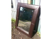 Large faux leather wall hanging mirror in great condition