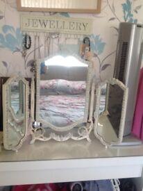 Beautiful Louis Style Vintage Triple Dressing Table Mirror