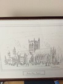 FRAMED PRINT OF PAISLEY ABBEY BY DAVID HAWKER £10