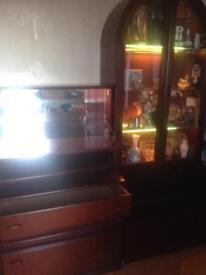 Mahogany sideboard and display cabinets
