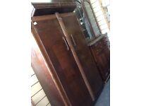 Solid oak vintage wardrobe