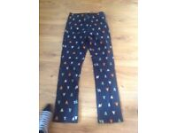 Navy trousers with hearts size 8