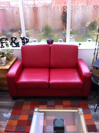 Small Red Faux Leather 2 seater settee