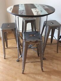 Bistro dining table and stools