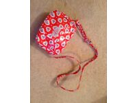 Cath Kidston girl's handbag, excellent, bright red with pattern