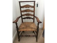 Antique / vintage ladder back carver dining chair with rush seats