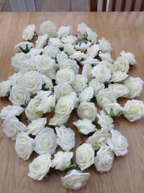67 X CREAM ARTIFICIAL ROSE BUDS ART & CRAFT PROJECT OR WEDDING CENTREPIECE