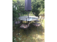 NEPTUNE Garden Furniture - Large Granite Table + 6 Chairs/Cushions + Parasol *Poss
