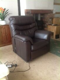 G plan dark brown leather electric riser recliner
