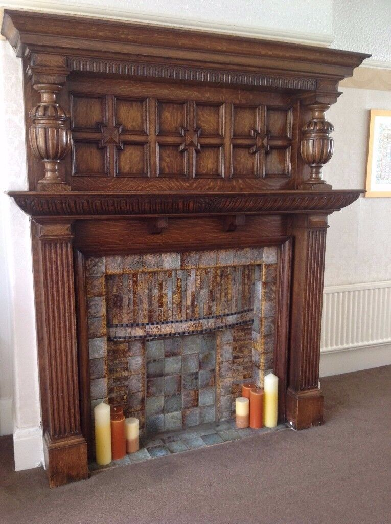 "Wooden fireplace large surround, antique, stunning craftsmanship, 6'5"" height"