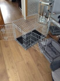 Dog crate cage. 2 dog beds