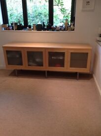 Birch Ikea sideboard with glass doors