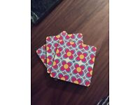 3 drinks coasters pop art style pink/blue/yellow floral