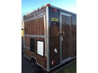 Wood effect, box catering trailer. Has lots of extras . Very easy to tow, car or van.