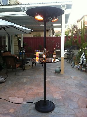 Electric Patio Heater Outdoor Free Stand Infrared Radiant w/20-in Round Table Radiant Outdoor Patio Heater