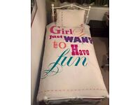 Two fab as new ' Girls just want to have fun' single duvet cover sets,