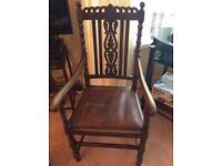 Vintage Scottish carved oak armchair