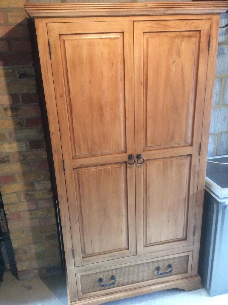 Distressed Pine Wardrobe With Hanging Rail And Large