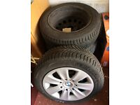 4 Michelin Winter tyres 205/55 R16 on steel wheels+BMW trims to fit 3 series. Good condition
