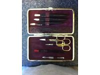 German Solingen nail kit with red leather crocodile pattern (7piece)