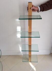 Wall hanging wood and glass shelf