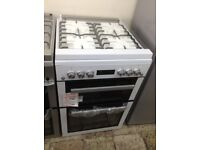 Beko white 60cm gas cooker with glass lid. £340. New/graded. 12 month Gtee