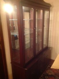 Solid mahogany display cabinet and side board