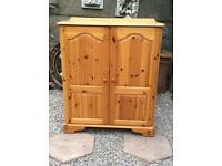 Antique pine TV cabinet with doors Holds TV and all devices hides wires £60