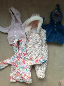 Baby girl jackets and snow suit, range of sizes